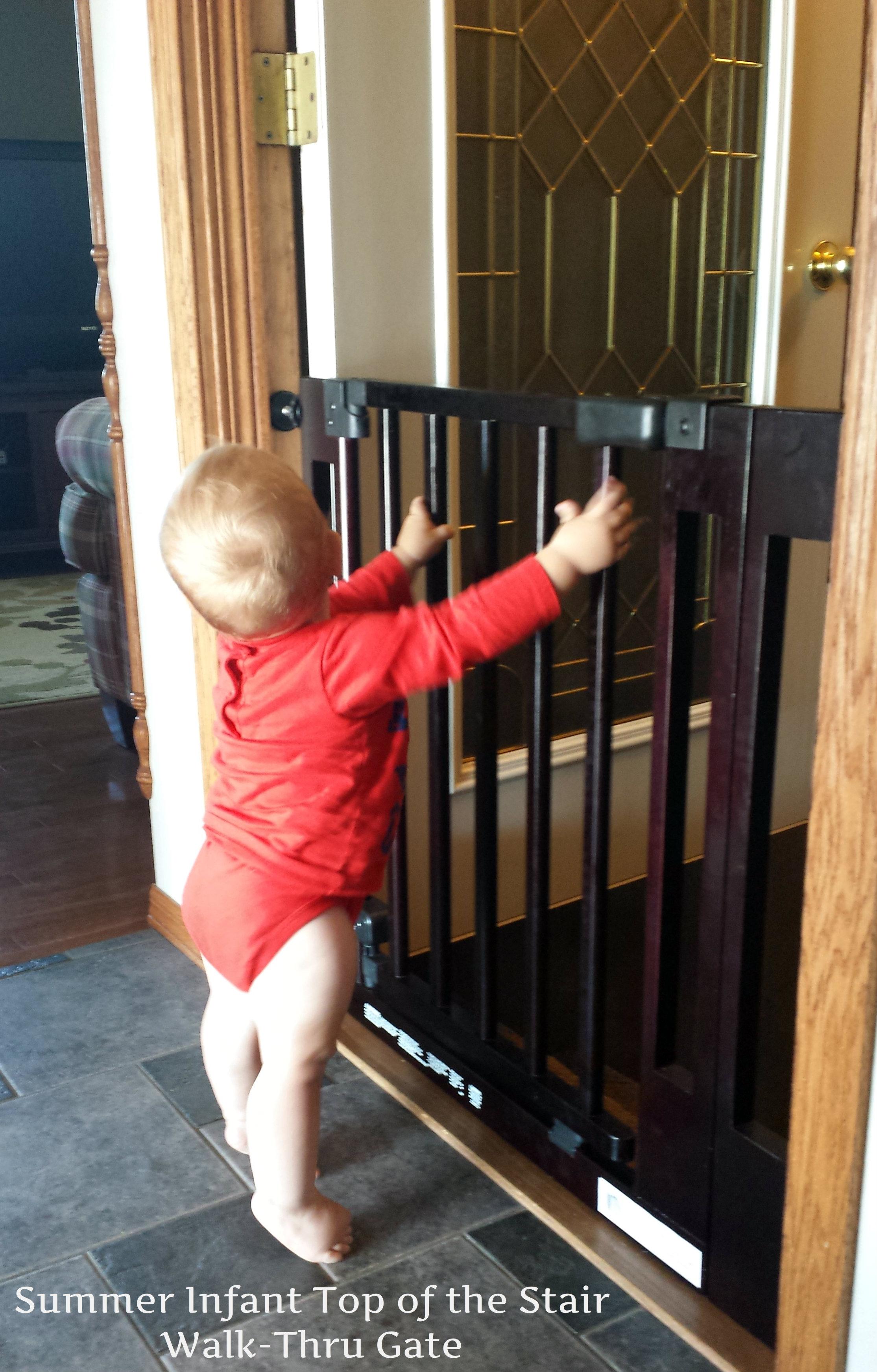 secure top of the stairs walkthru baby gate  momma in flip flops - gate disclosure
