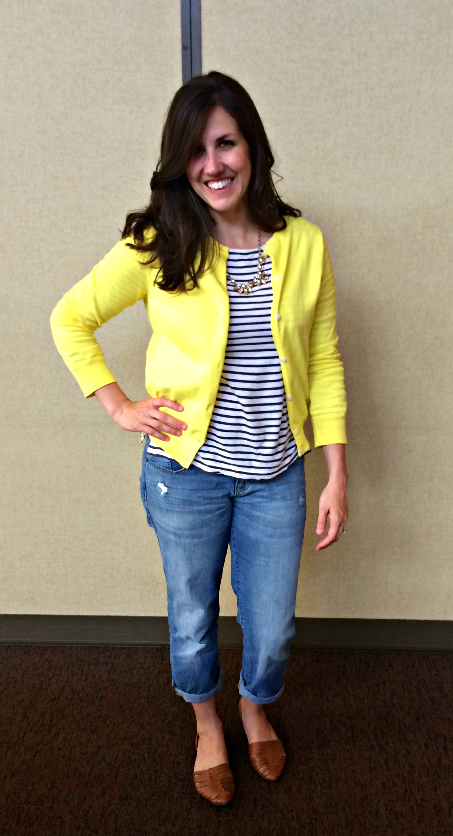 Real Mom Style Yellow Cardigan Stripes Momma In Flip Flops
