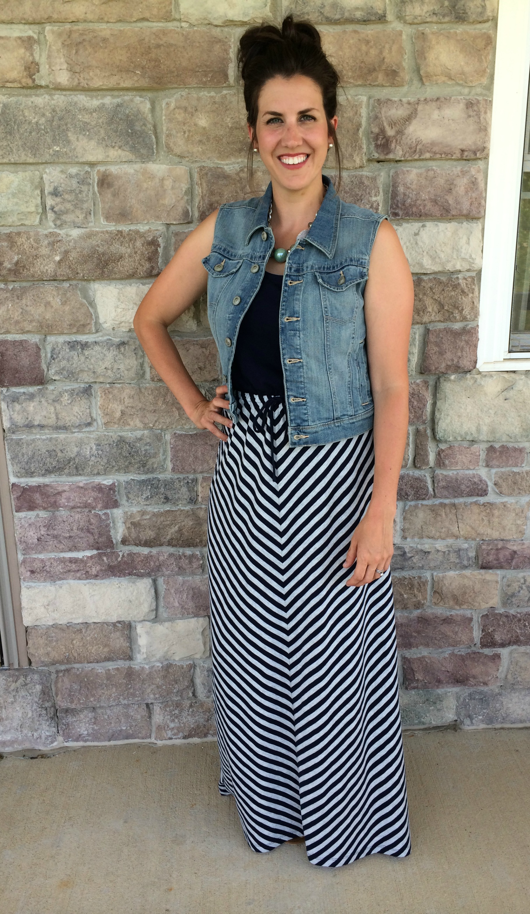 410c096c183 What I Wore  How to Wear a Denim Vest with a Dress  RealMomStyle ...