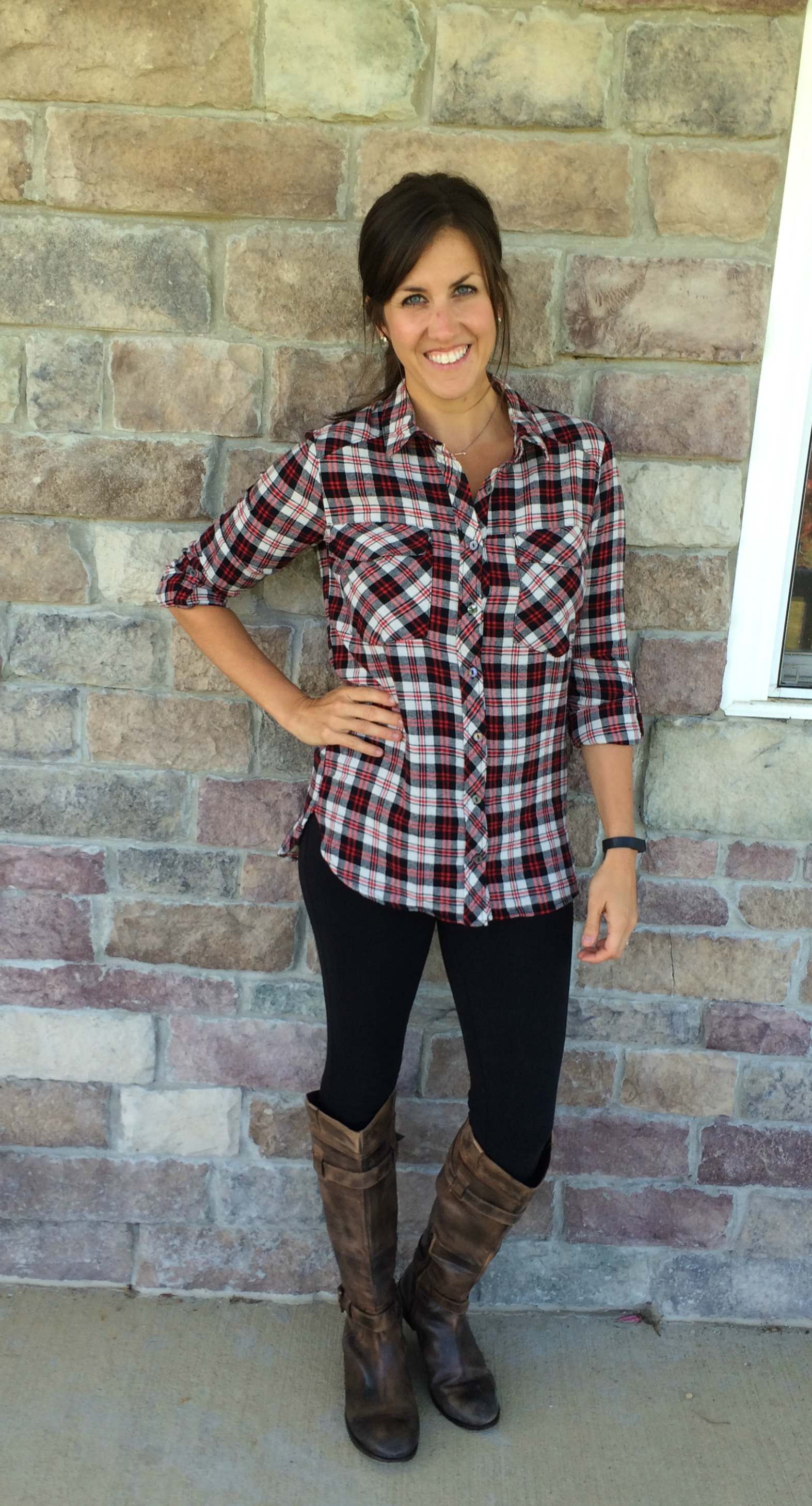 plaid outfits for the family fallfashion momma in flip flops. Black Bedroom Furniture Sets. Home Design Ideas