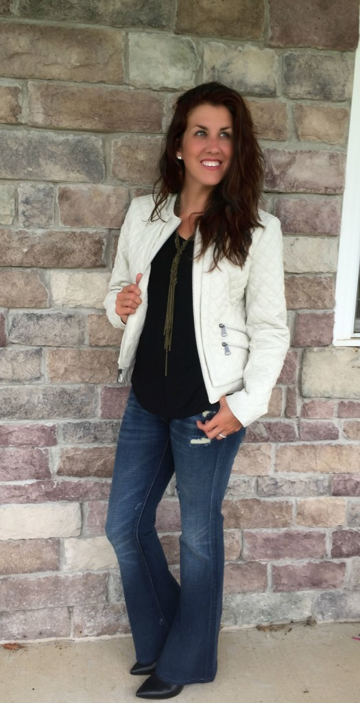 e17a34d6f6bcf How to Style a White Leather Jacket   a  100 Wilsons Gift Card ...