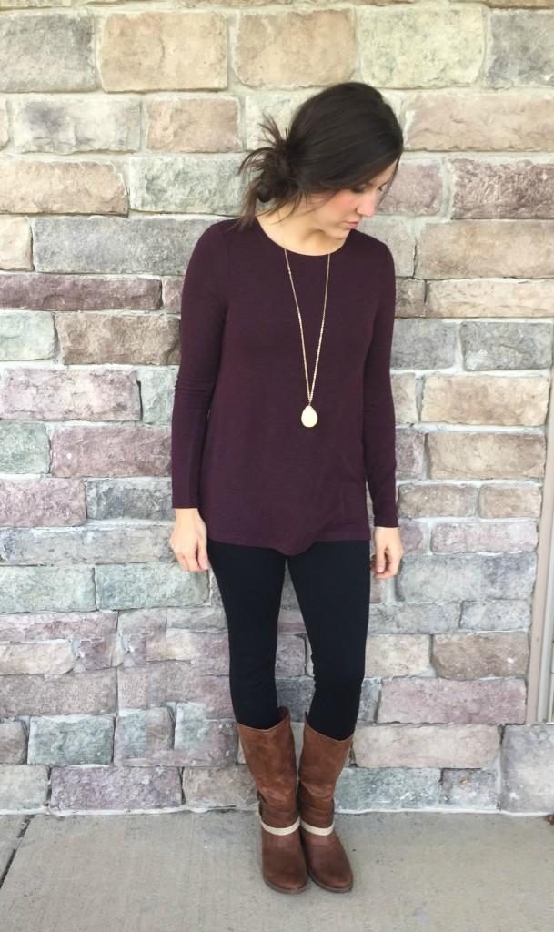 cabi leggings and burgundy top