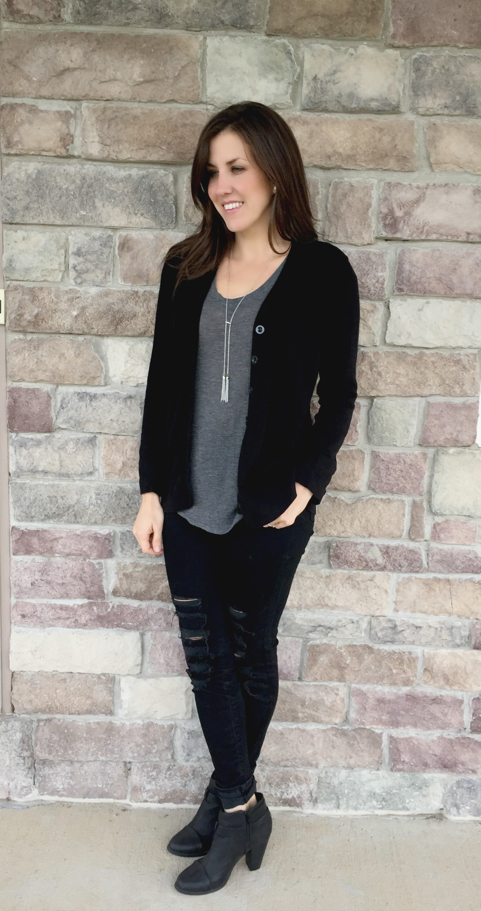 Black Boyfriend Cardigan Sweater Outfit - momma in flip flops