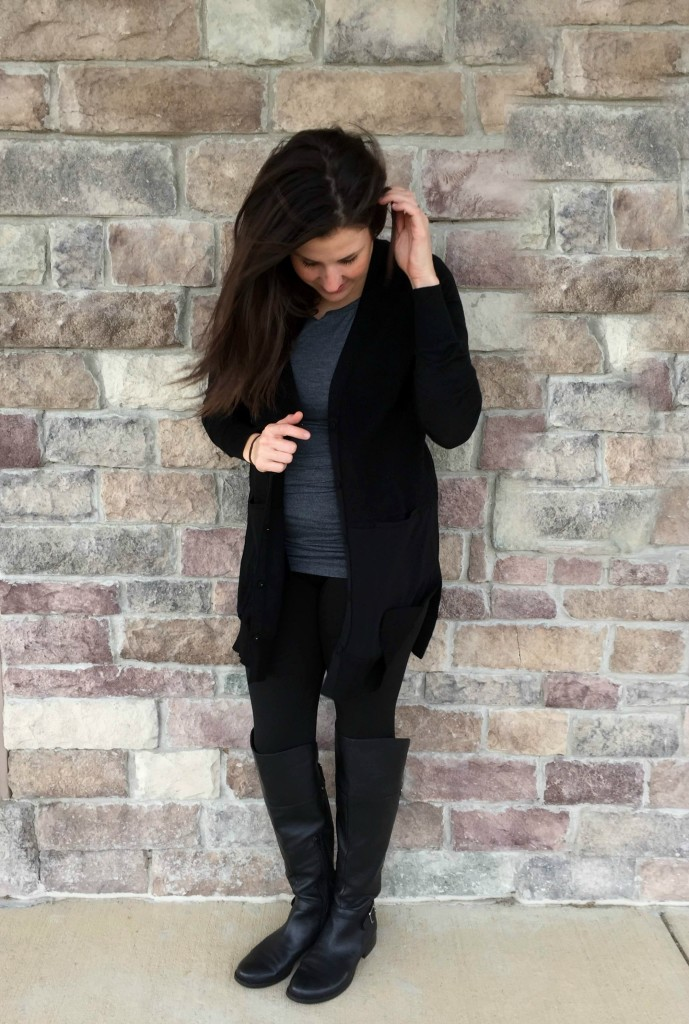 black cardigan grey cabi