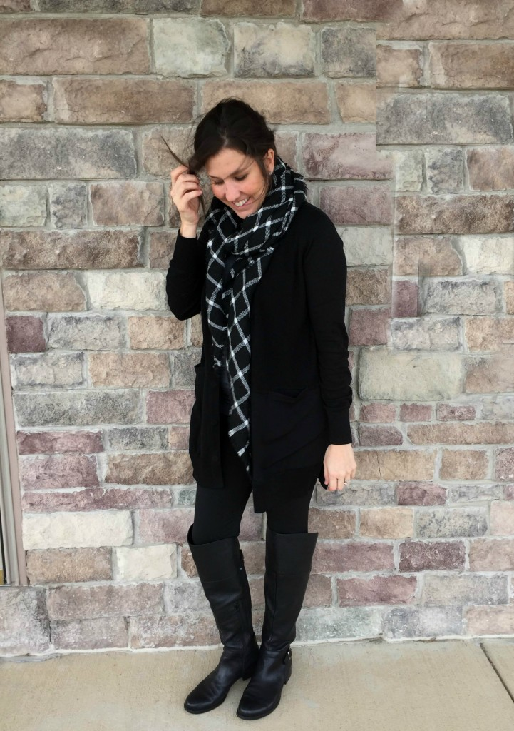 cabi black cardi with plaid scarf