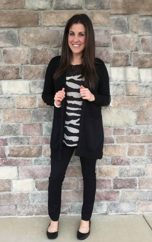 cabi black cardigan and zebra top