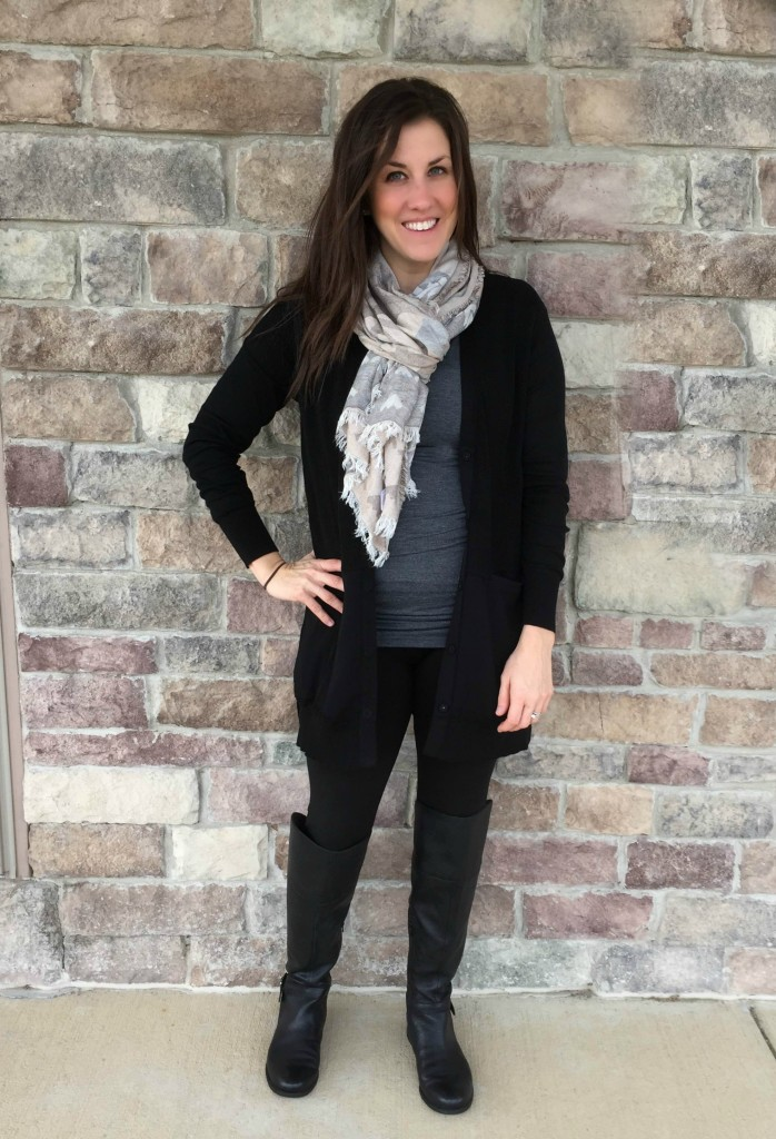 cabi black cardigan grey top