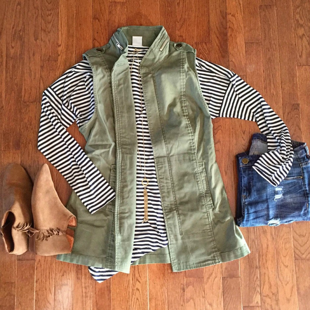 cabi flat lay stripes and vest