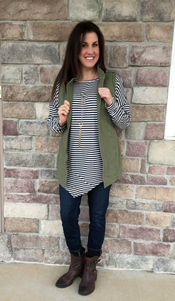 cabi striped top and vest