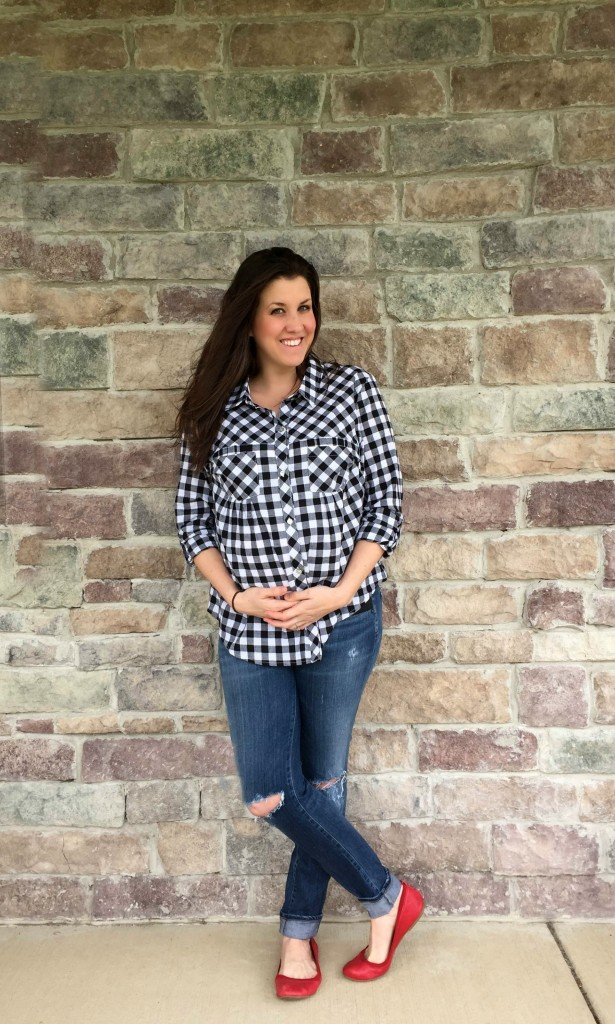 Everly Grey Check with Red