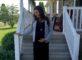 black maxi dress and grey blazer