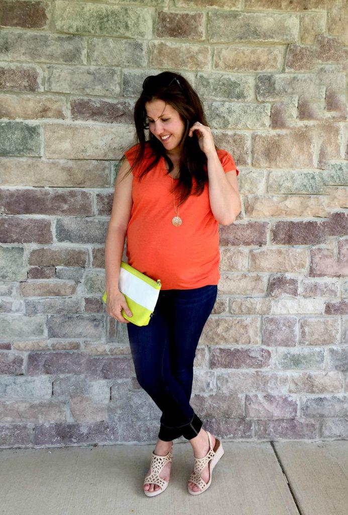 cabi orange top and wedges