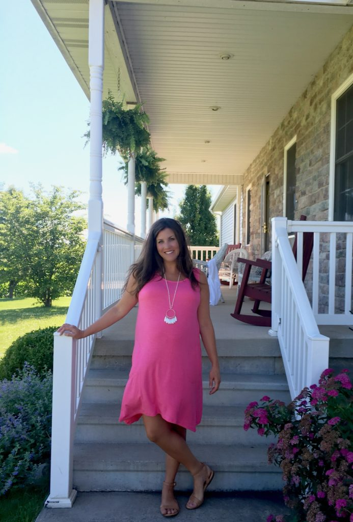 JJill Pink Summer Dress and Necklace