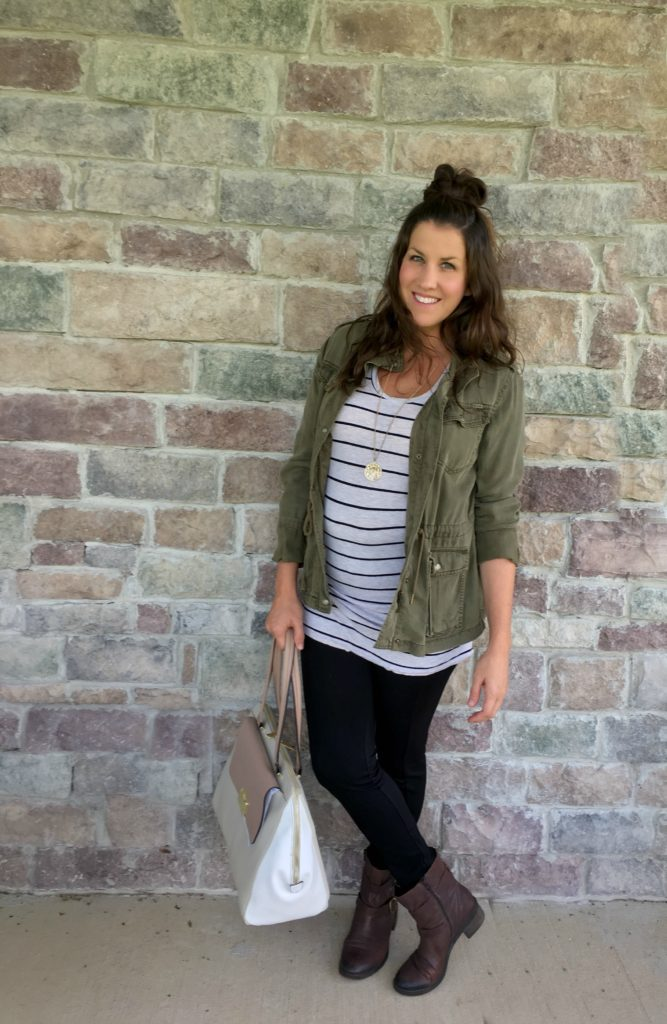 cabi outfit with black leggings