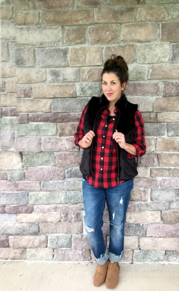 plaid and black vest outfit