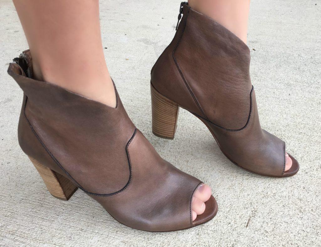 peep toed booties brown